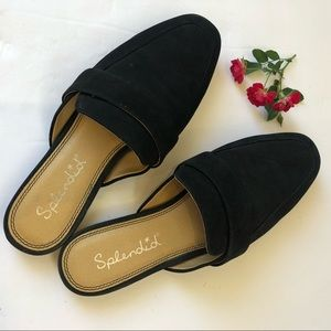 Splendid Deroy Black Suede Loafer Mules sz 9